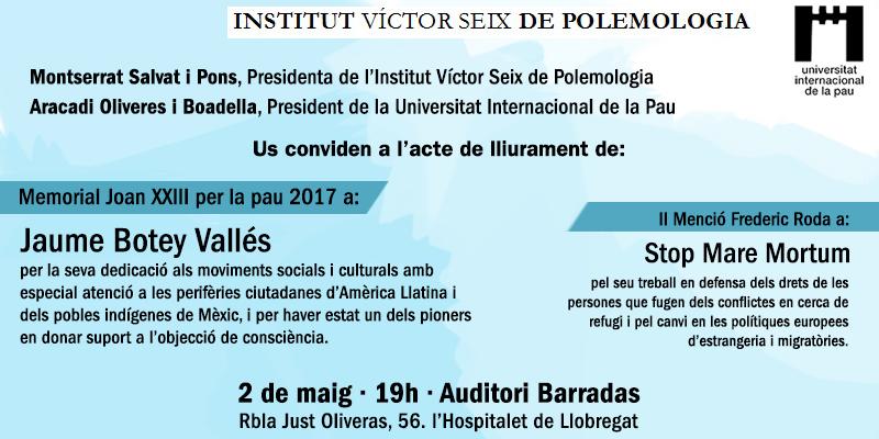 Stop Mare Mortum rep la II Menció Frederic Roda otorgada per l'Institut Víctor Seix de Polemologia i UNIPAU