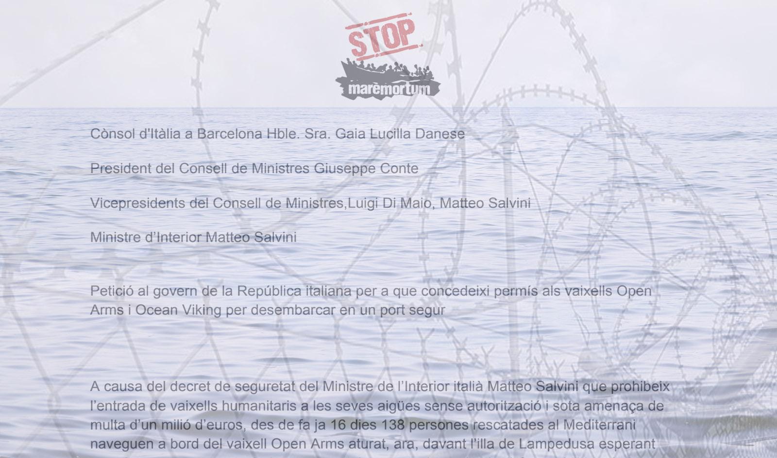 Entrega de cartes al Consolat italià per exigir obertura de ports per l'Open Arms i l'Ocean Viking