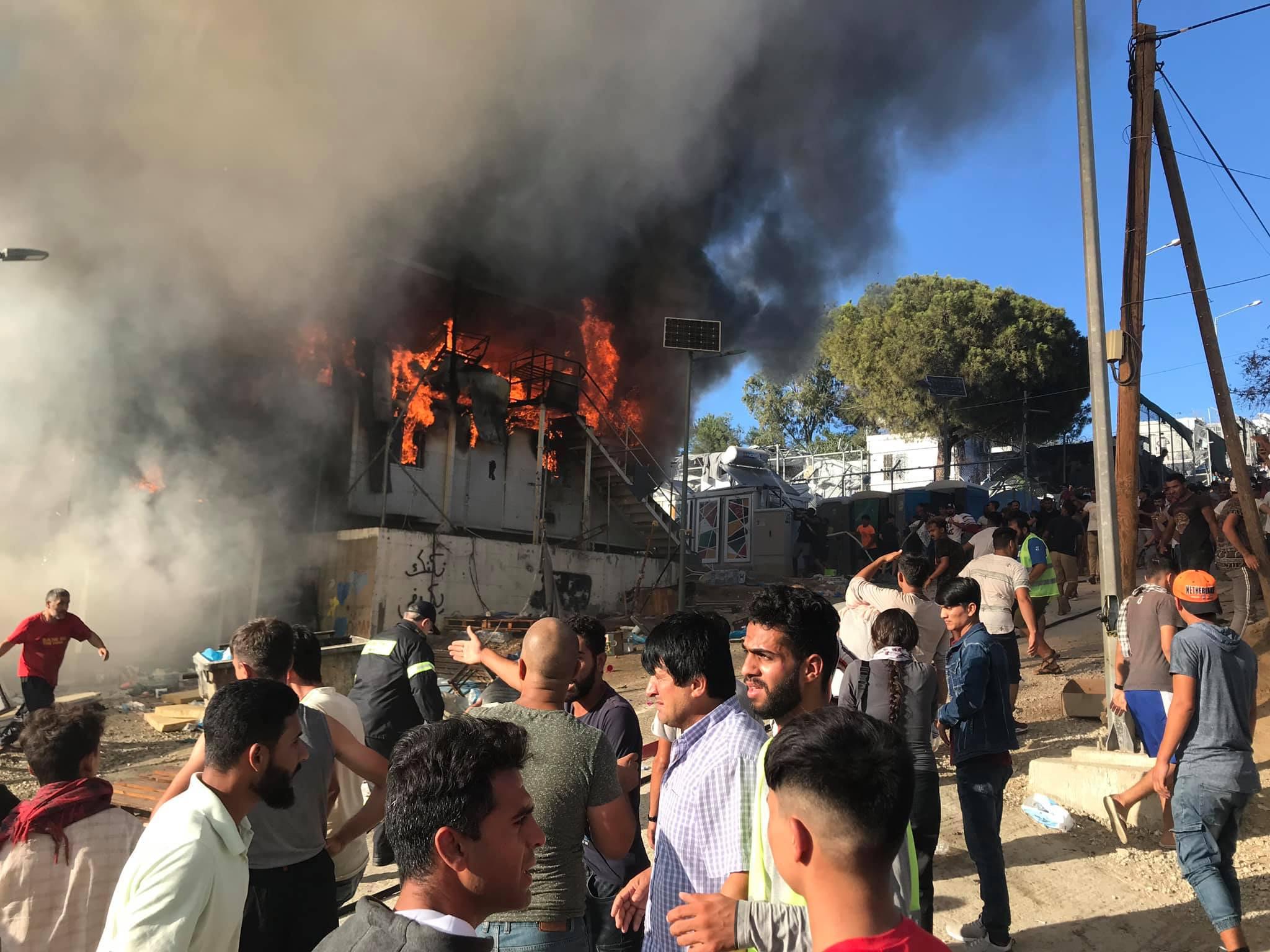 Comunicat arran de l'incendi i mort al Camp de persones refugiades de Mória (Lesbos)