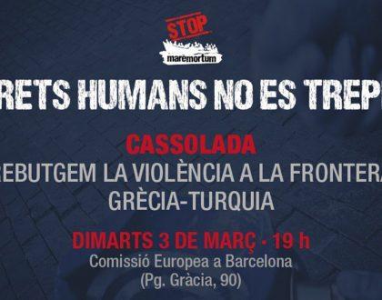 Comunicat i convocatòria de cassolada: Els drets humans no es trepitgen